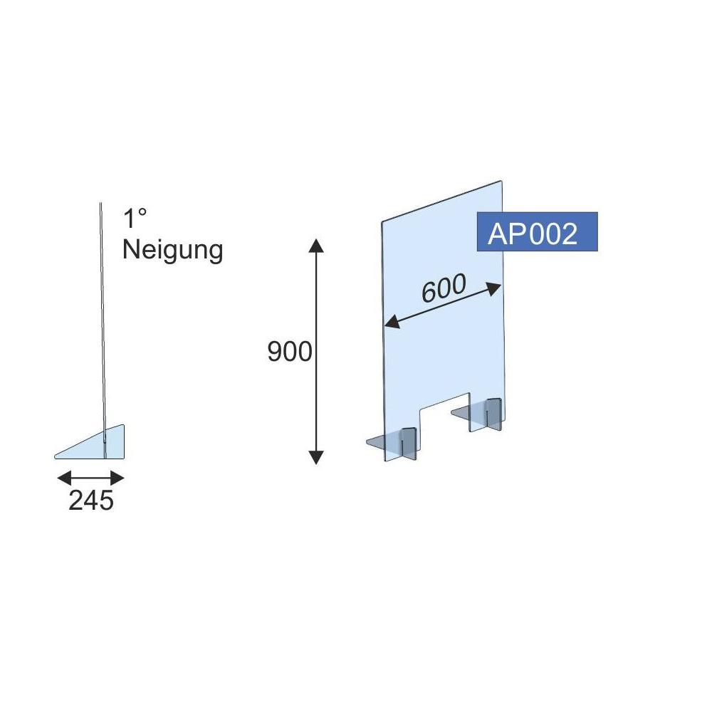 Thekenschutz gesteckt, 600x900x6 mm