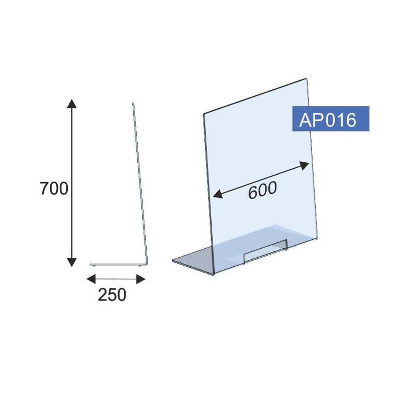 Thekenschutz L-Form, 600x700x6 mm