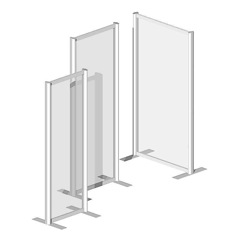 Raum Trennwandsystem, Sicherheitsglas ESG, 180x60x40cm