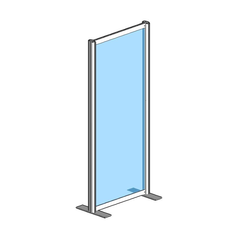 Raum Trennwandsystem, Sicherheitsglas ESG, 180x80x40cm